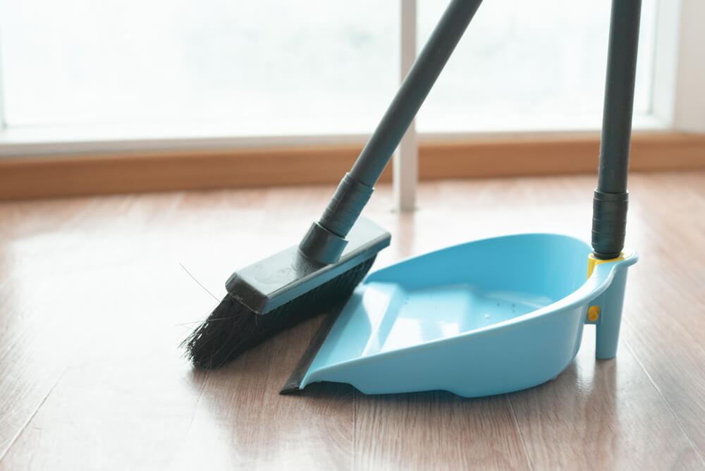 Dustpan cleaning under bed