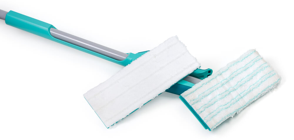 using Flat-Head Mop for dust cleaning